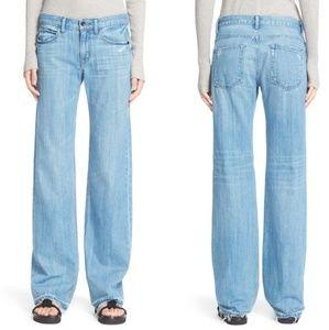 Helmut Lang Boho Flare Jeans Distressed Denim